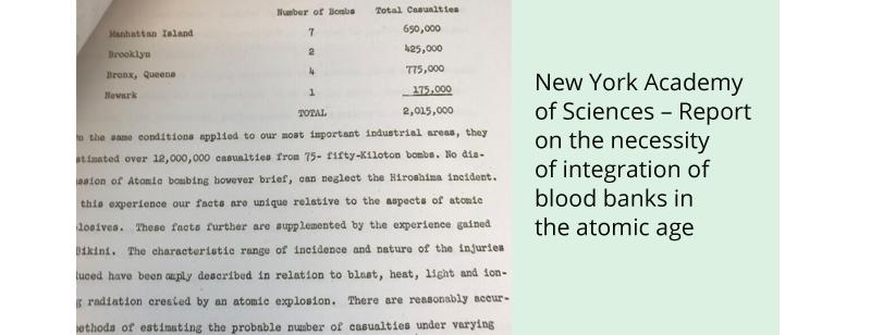 New York Academy of Sciences – Report on the necessity of integration of blood banks in the atomic age