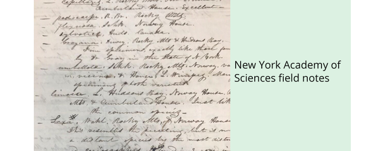 New York Academy of Sciences field notes