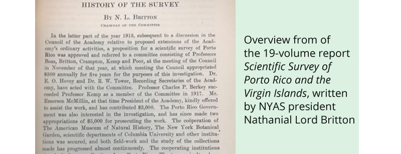 Overview from of the 19-volume report Scientific Survey of Porto Rico and the Virgin Islands, written by NYAS president Nathanial Lord Britton