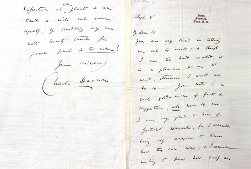 Letter by Charles Darwin
