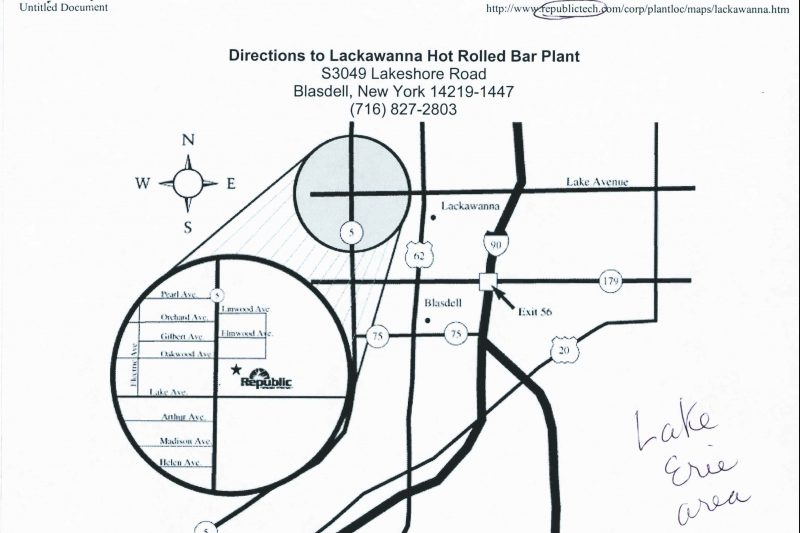 Harbor Project, Directions to Lackawanna Hot Rolled Bar Plant, October 4, 2000