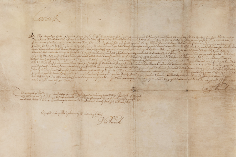 King Charles Grant to Dr. William Harvey